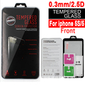 100pcs 2.5d arc 0.3mm clear  front tempered glass protector film guard  For Apple iPhone 5 5S 5C 5SE with retail packing