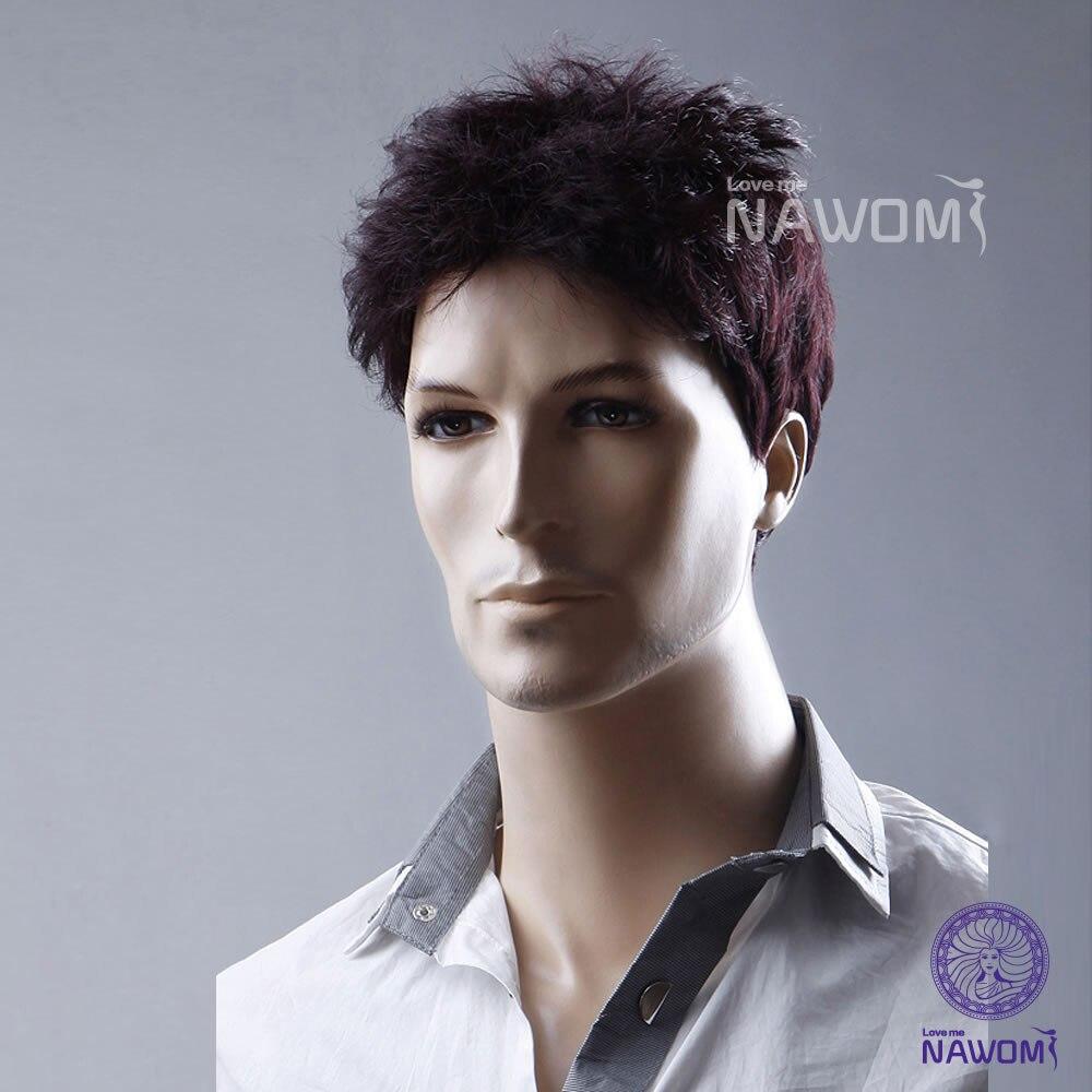 moda peluca sinttica humanos hombres corto y rizado de negocios hombre