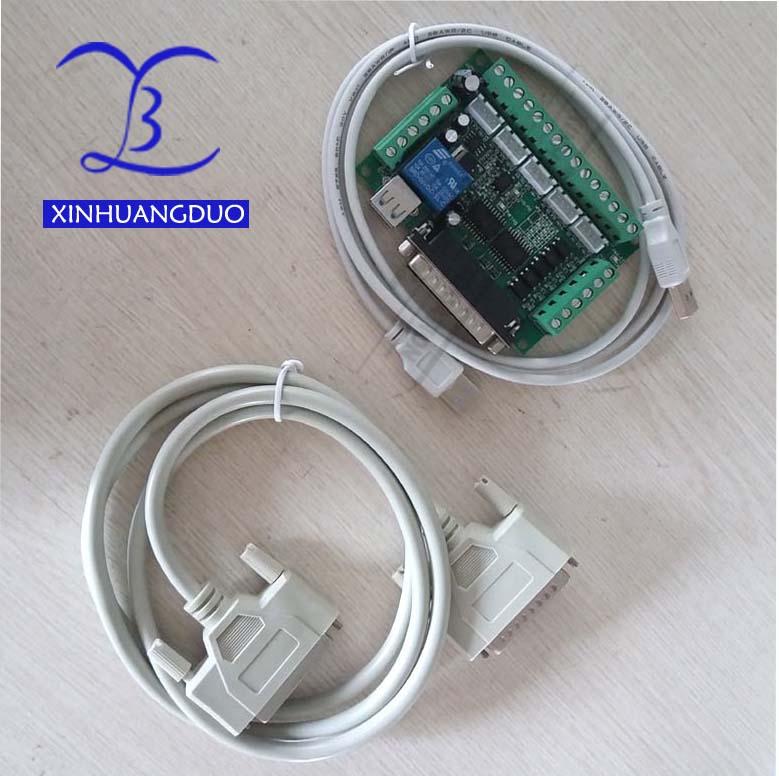 Ulepszony 5 Osi CNC Interfejs Adapter Breakout Board Dla Silnik Krokowy Sterownik Mach3 + Kabel USB + DB25 kabel równoległy