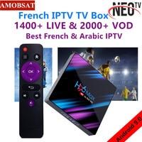 Android 9.0 TV Box H96 MAX+1 Year NEO pro French IPTV Subscription 4G Ram 64GB Rom H.265 4K Smart TV Box BT4.0 Set Top Box