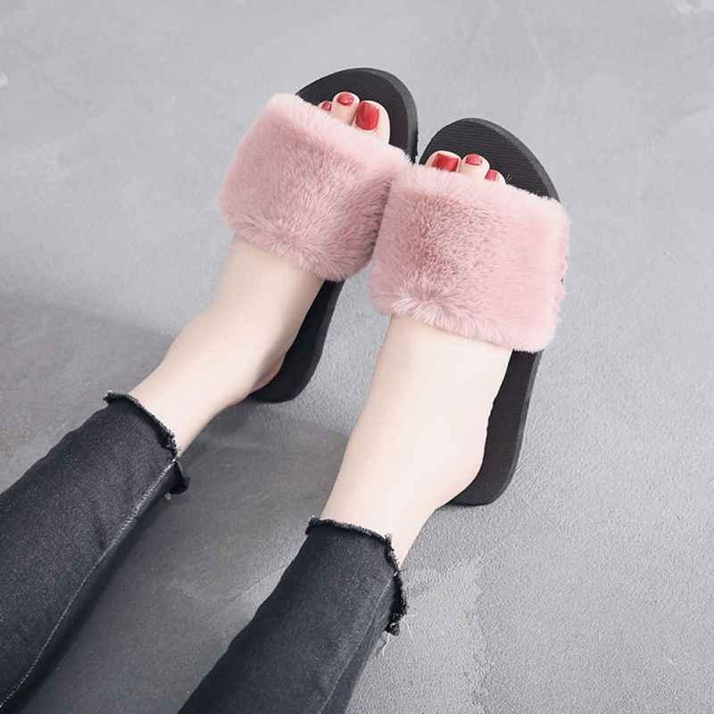 Women Slippers Spring Summer Autumn Plush Slippers Women Faux Fur Slides Flip Flops Flat Shoes,JA0070-28,37