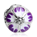 1PC Purple Gradient Cherry Blossoms European Silver Clip Charms Flower Lock Stopper Bead fit Pandora Charm Bracelets