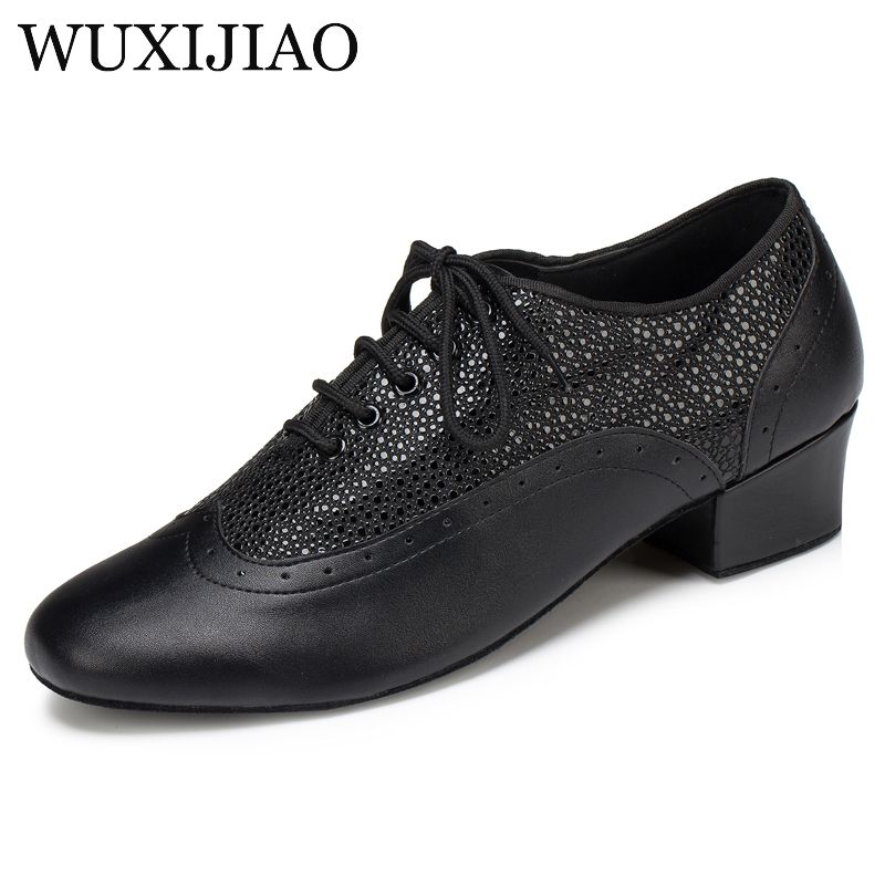 WUXIJIAO New Brand Modern Men's Ballroom Tango Waltz Latin Dance Shoes Microfiber Synthetic Leather Heel 2.5/4cm