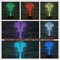 Increíble Novedad 3D Cabeza de elefante Ilusión Atmósfera LED Lámpara de Mesa Niño Niños Dormitorio Luz de La Noche de Dormir Amigo Regalos de Vacaciones