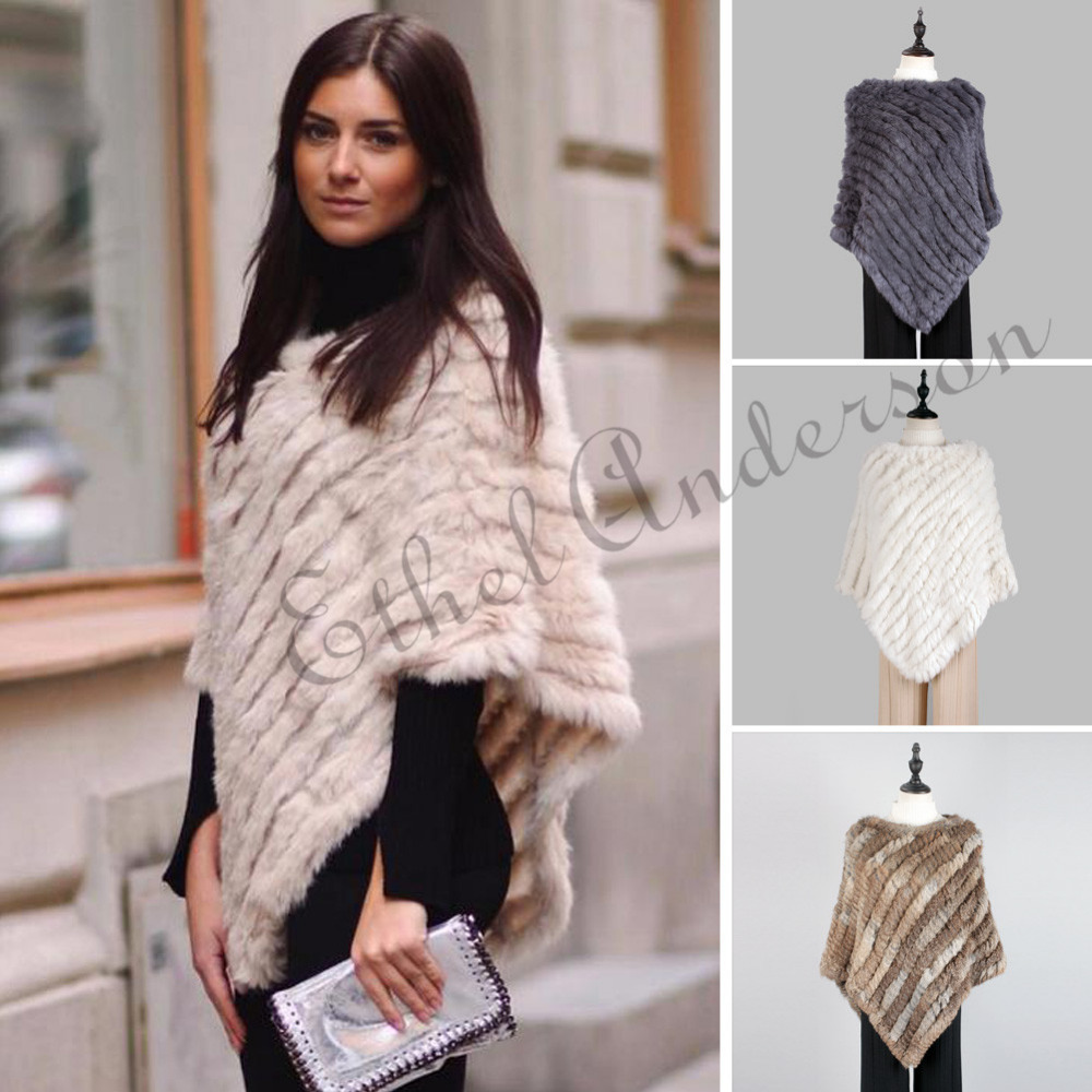 Fashion Fur Pullover For Women Knitted Genuine Rabbit Fur Poncho Capes Ladies Real Fur Knit Amic Wraps Triangle Shawls Jackets