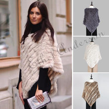 Fashion Fur Pullover For Women Knitted Genuine Rabbit Fur Poncho Capes Ladies Real Fur Knit Amic Wraps Triangle Shawls Jackets(China)
