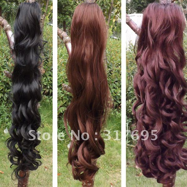 Free Shipping 2013 Fashion Ladys Ponytail Curly Clips In Syntheitc