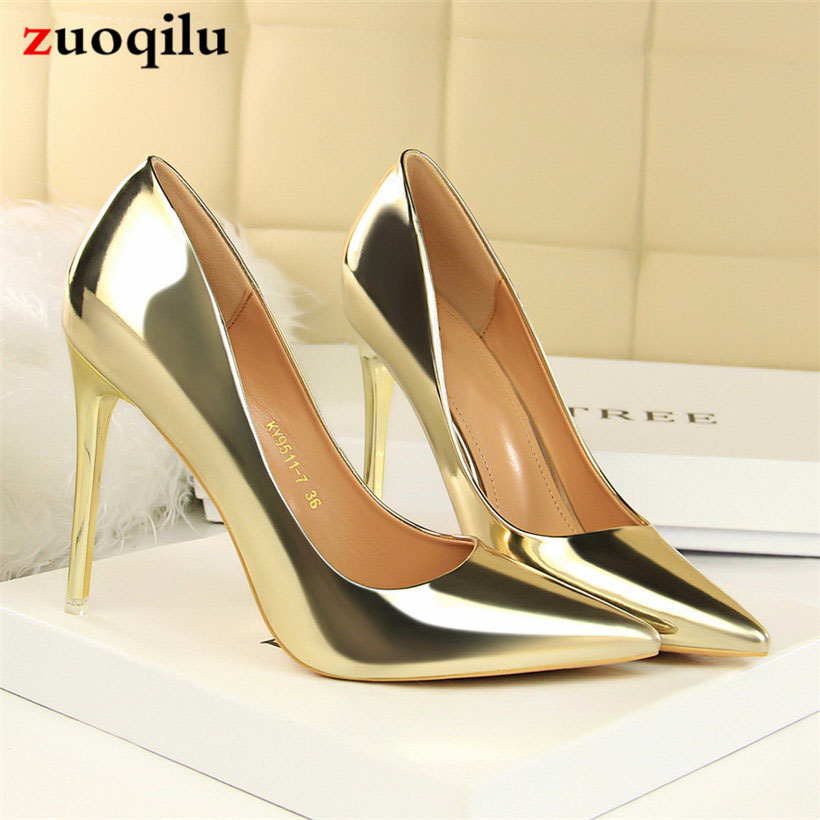 Sexy High Heels Women Shoes PU Leather Pumps Women Shoes High Heel Party Shoes Ladies Heels gold sliver chaussure femme talon цена 2017