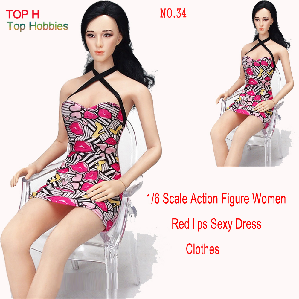 Sexy NO.34 Red lips skirt Dress Miniskirt For 1/6 Scale Female 12 Action Figure 1:6 Phicen Doll Toys Clothing sexy 1 6 scale customize clothing for 12 phicen female large medium bust figure cowgirl doll toys accessories p20