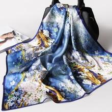 Чистый Шелковый шарф высокого качества дерево цветочный принт головной платок Женская бандана из сатина и шелка 65x65 см квадратный шелковый шарф женский платок