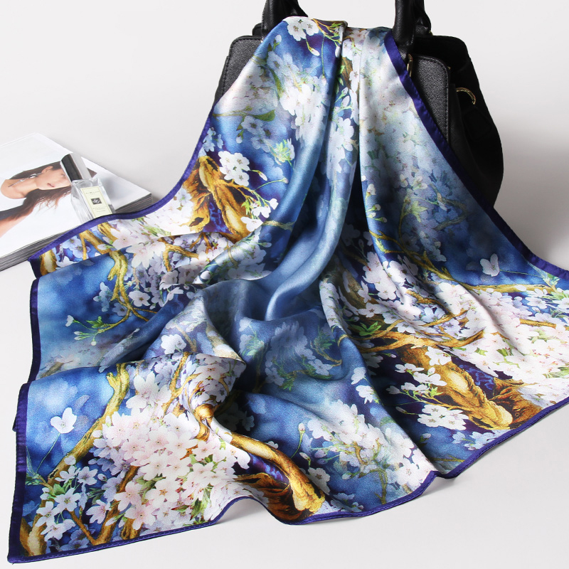 100% Pure Silk Scarf High Quality Tree Floral Print Head Ladies Satin Bandana 65x65cm Square Women