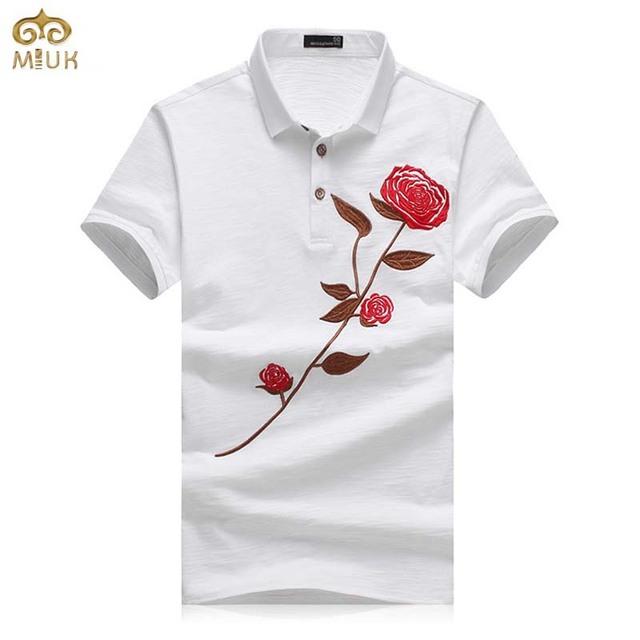 Miuk gran tamaño rose floral 95% algodón de polo de los hombres 4xl 3xl estilo nacional ropa de manga corta camisa polo marca homme polo 2017