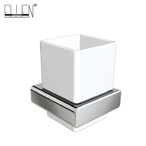 Square Toothbrush Holder Bathroom Accessories tumble holder tooth brush holder in Brass Chrome with Ceramics Cup EL81884 image