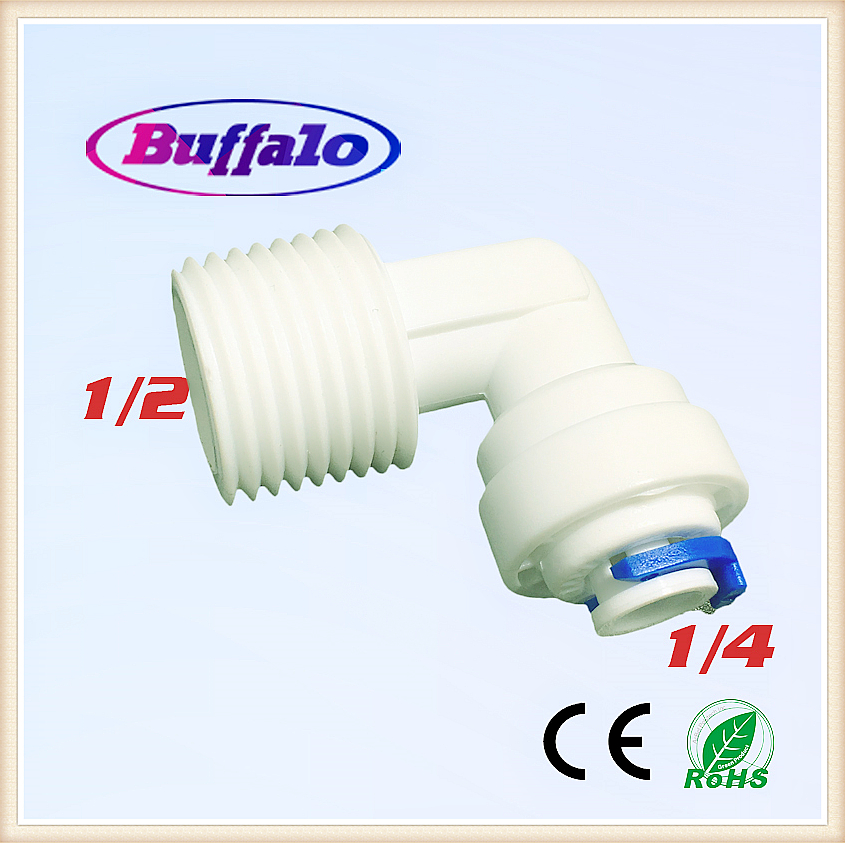 100PCS Male Elbow Quick Connect 1/4 OD Hose 1/2 Threaded Connector RO Water Reverse Osmosis Aquarium System Fittings MQL0804 elbow design 12mm hole 1 2 pt threaded pneumatic quick joint connector
