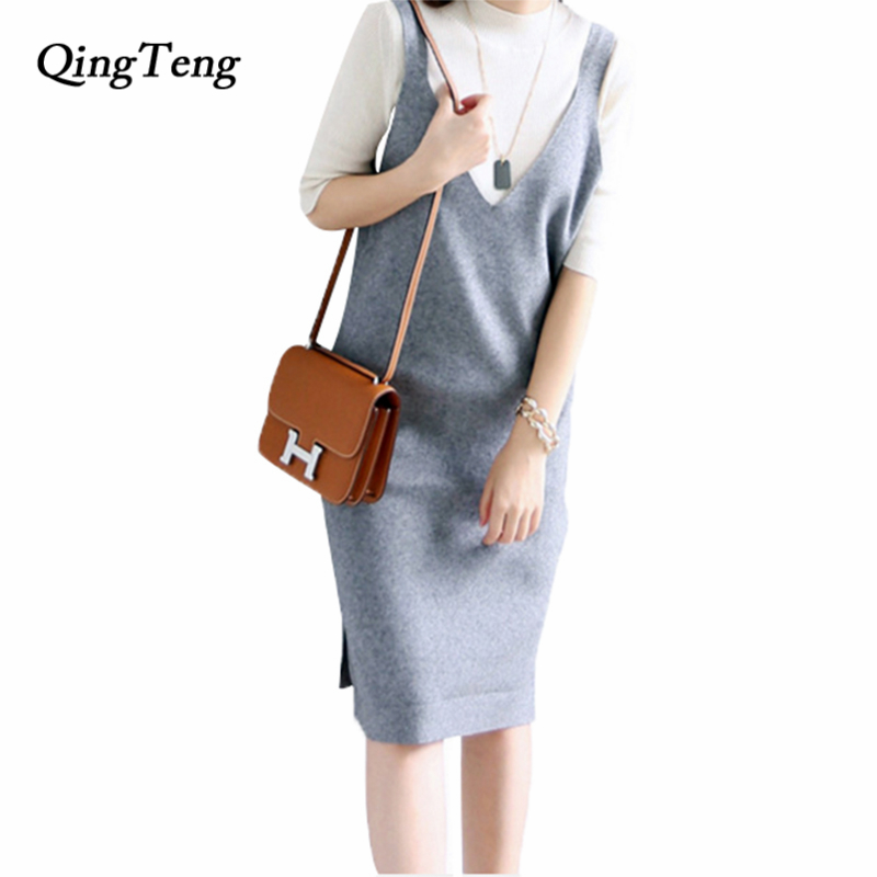 Women Dresses Cashmere And Wool Blend Knitwear Hot Sale Long Dress Spring V Neck Spaghetti Strap New Fashion Mid-Calf Dress