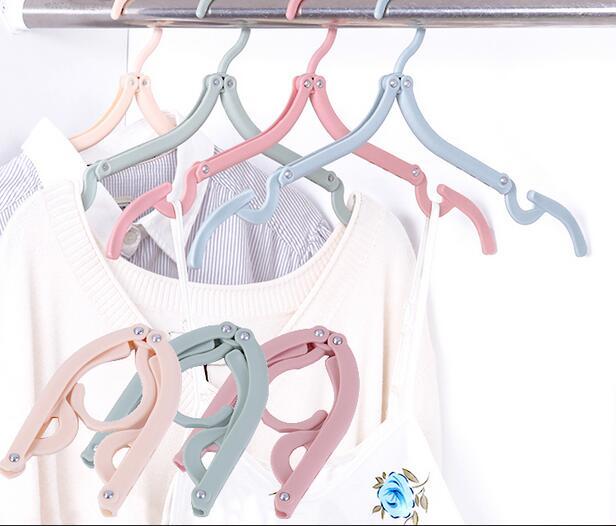 3PCS/SET Plastic Hook folding hangers Clothes Peg Travel Space Saving Wardrobe Cloth Hanger Foldable Travel Hangers Drying Rack