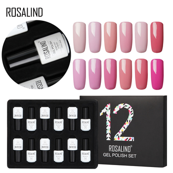 12PCS/LOT ROSALIND 7ML Gel Nail Polish Set Pure Color Series Semi Permanent Acrylic Nail Kit Need Base Top Coat Set For Manicure 1