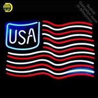 미국 미국 국기 네온 사인 손으로 만든 네온 전구 로그인 유리 튜브 아이코닉 네온 사인 홈 전문 네온 전구 장식