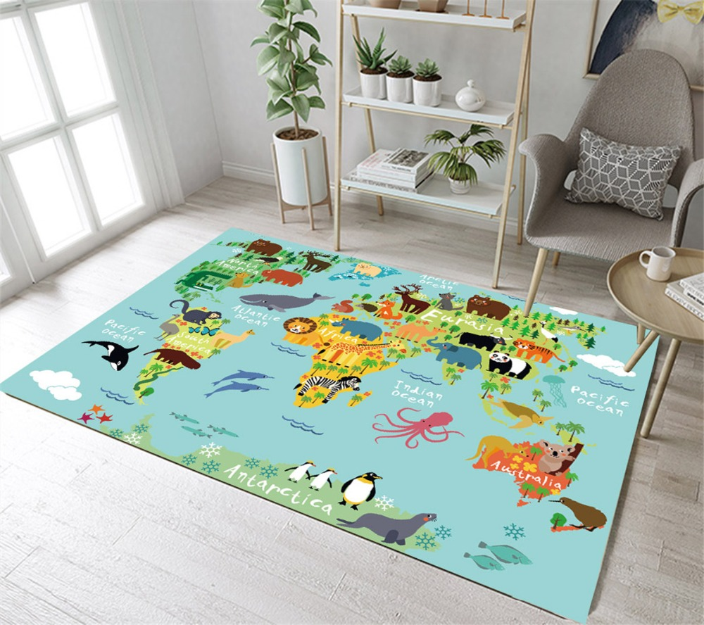 LB Cartoon Animals World Map Non-slip Area Rugs For Living Home Room Large In Carpet For Kids Bedroom Doormat Kitchen Cushion