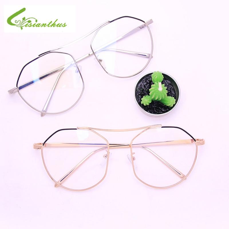 Sporting Pilot Glasses Alloy Gold Slivery Polygon Frame Glasses Classic Optics Eyeglasses Retro Transparent Clear Lens Women Men Glass Women's Sunglasses
