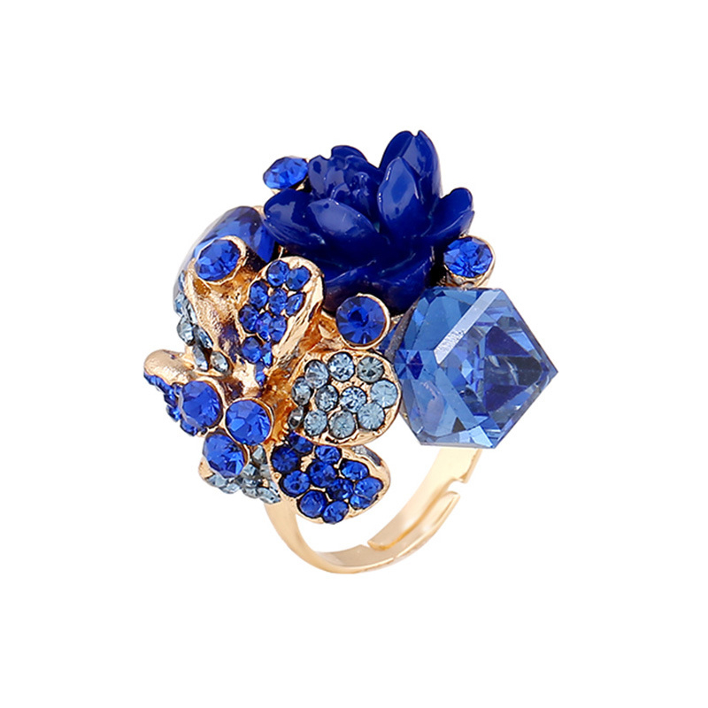 1 Piece Beauty Women's Crystal Opening Resin Flowers Ring anelli donna anel de ouro Jewelry Party