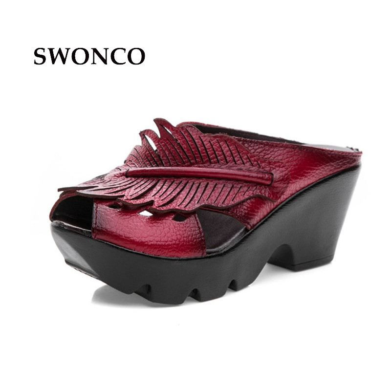 Genuine Leather Platform Women Sandals Shoes Woman Summer Wedge Sandals Women Color Black Red Slippers Sandals Mother Shoes