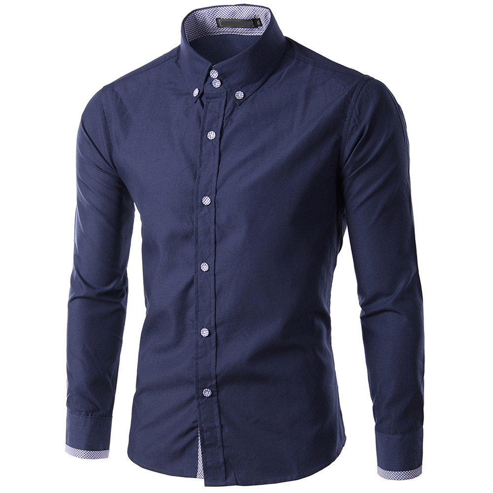 Shirt Chemise Homme Long Sleeve Button Summer Autumn Men Daily Clothes Slim Fit Casual Mens Fashions Shirts Solid Cotton Beach C