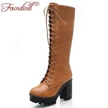 FACNDINLL women autumn winter boots sexy high heels platform shoes woman knee high boots black brown long boots big size 34-43