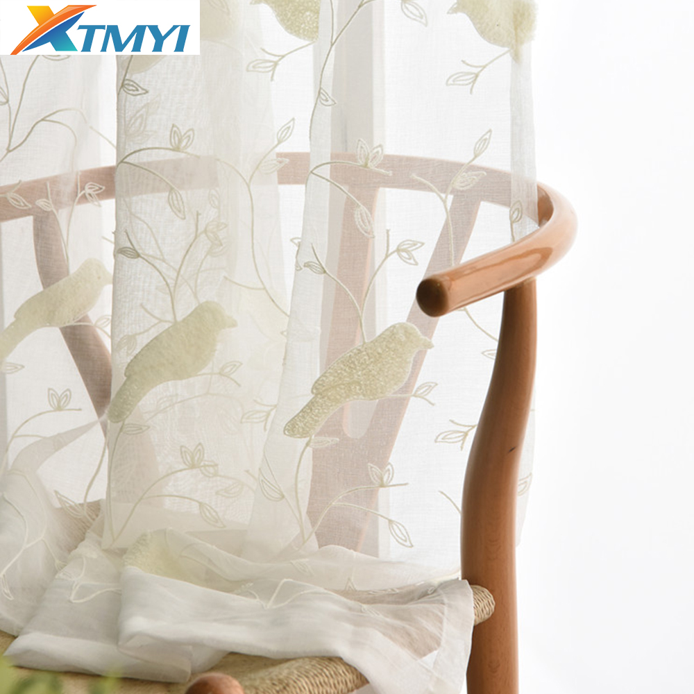 Curtain For Balcony: White Bird Embroidered Tulle Curtains For Balcony Sheer