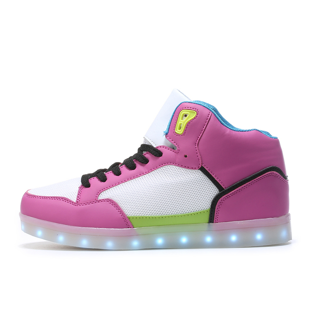 f08172c8d12 2017 new arrival High Top LED Shoes women Luminous neon Glowing led USB  Charge Flash Light Up casual tenis Led Shoes female