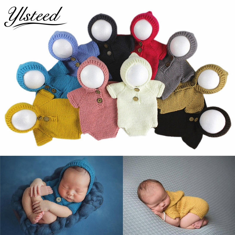 0-6M 2017 Newborn photography costume baby hooded jumpsuit baby boy girls crochet outfit newborn gift infant photo shoot props cute newborn baby girls boys crochet knit costume photo photography prop outfit one size baby bodysuit hat 2pcs