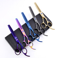 Kasho 2pcs Left Hand Professional Hair Scissors Hairdressing Barber Thinning Scissors Hair Cut Shears Salon Tools