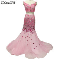Elegant Two Piece Pink Tulle Mermaid Prom Dresses 2018 Luxury Sweetheart Heavy Crystals Spaghetti Straps Prom Formal Party Gown