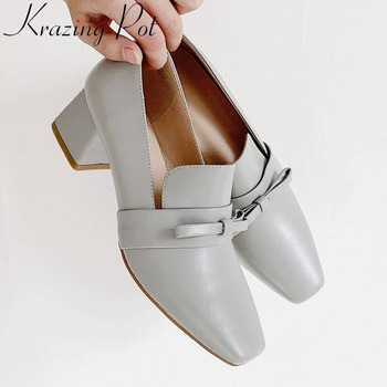 Kraing Pot handmade chunky heels genuine leather bowtie decoration square toe slip on concise style party dating women pumps L30