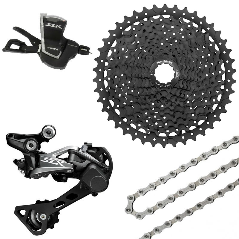 <font><b>SHIMANO</b></font> <font><b>SLX</b></font> <font><b>M7000</b></font> <font><b>1x11</b></font> 11S Speed Shifter+Rear Derailleur+Chain+ Sunrace CSMS8 11-46T Cassette <font><b>Groupset</b></font> Kit image