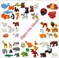 2016 NUEVO Más Barato Duplo Animal Bloques de Construcción 20 unids/lote Océano Bosque Modelos Animales De Granja juguetes Figuras Compatible con Legoe Duplo