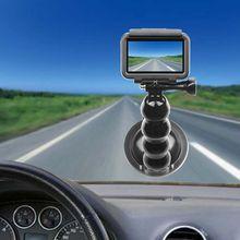 Preto suporte do carro titular ventosa adaptador de condução gravador bola cabeça tripé para dji osmo bolso ação câmera acessórios