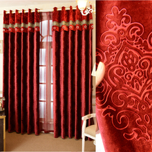 Custom Made Luxury Flocked Fabric Cortinas Blackout Curtains for Living Room Joyous Wedding Eco Friendly Tulle