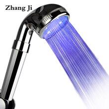 Чжан Цзи хром гальваническим LED Контроль температуры Насадки для душа Фильтр Ванная комната ABS Пластик ручной круглый Showerhead ZJ011