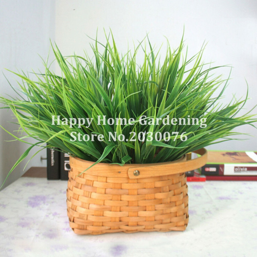1 X Artificial Fake Plastic Green Grass Plant Flowers Office Home ...