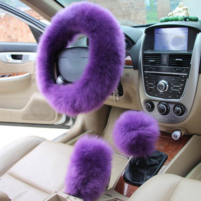 kkysyelva fur pink warm car steering wheel cover winter black auto interior accessories. Black Bedroom Furniture Sets. Home Design Ideas