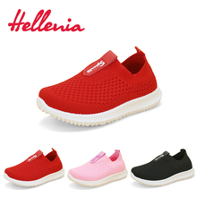 Helleniagirls light walking casual flats estate kid shoes bambini ragazze mesh traspirante Red Pink Black slip on size 21-38