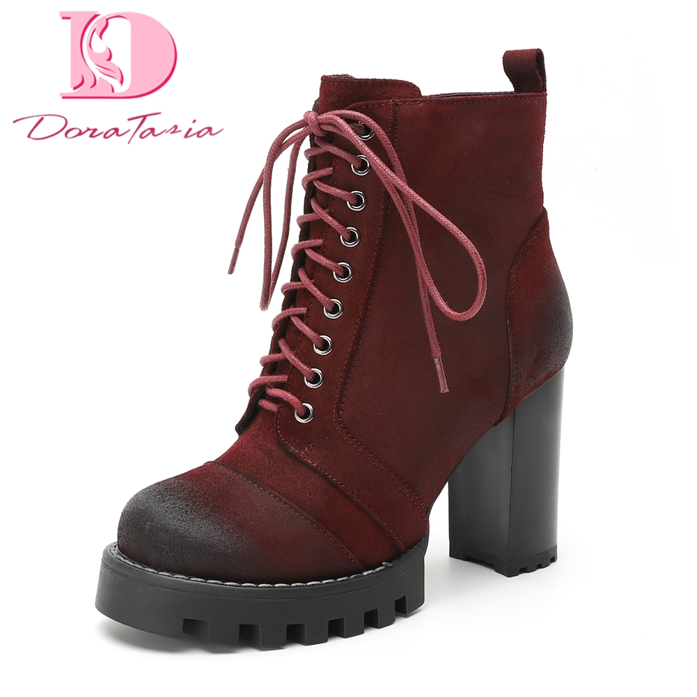 Doratasia Brand New Best Quality Cow Suede Leather Women Shoes Ankle Boots Fashion Winter High Heels Shoelaces Boots Woman Shoes brand new suede leather women platform boots famous designer high heels dress shoes woman gladiator luxury women ankle boots