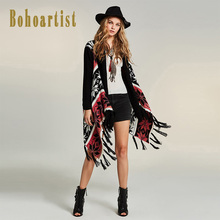 Bohoartist Women Knitwear Cape 2018 Color Patchwork Cover Up Cardigan Bohemia Tassel Clothing New Ladies Black Loose Scarf Capes