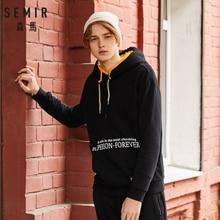 SEMIR Men Fleece-Lined Print Hooded Sweatshirt with Kangaroo Pocket Pullover Hoodie with Drawstring Hood Ribbing at Cuff and Hem