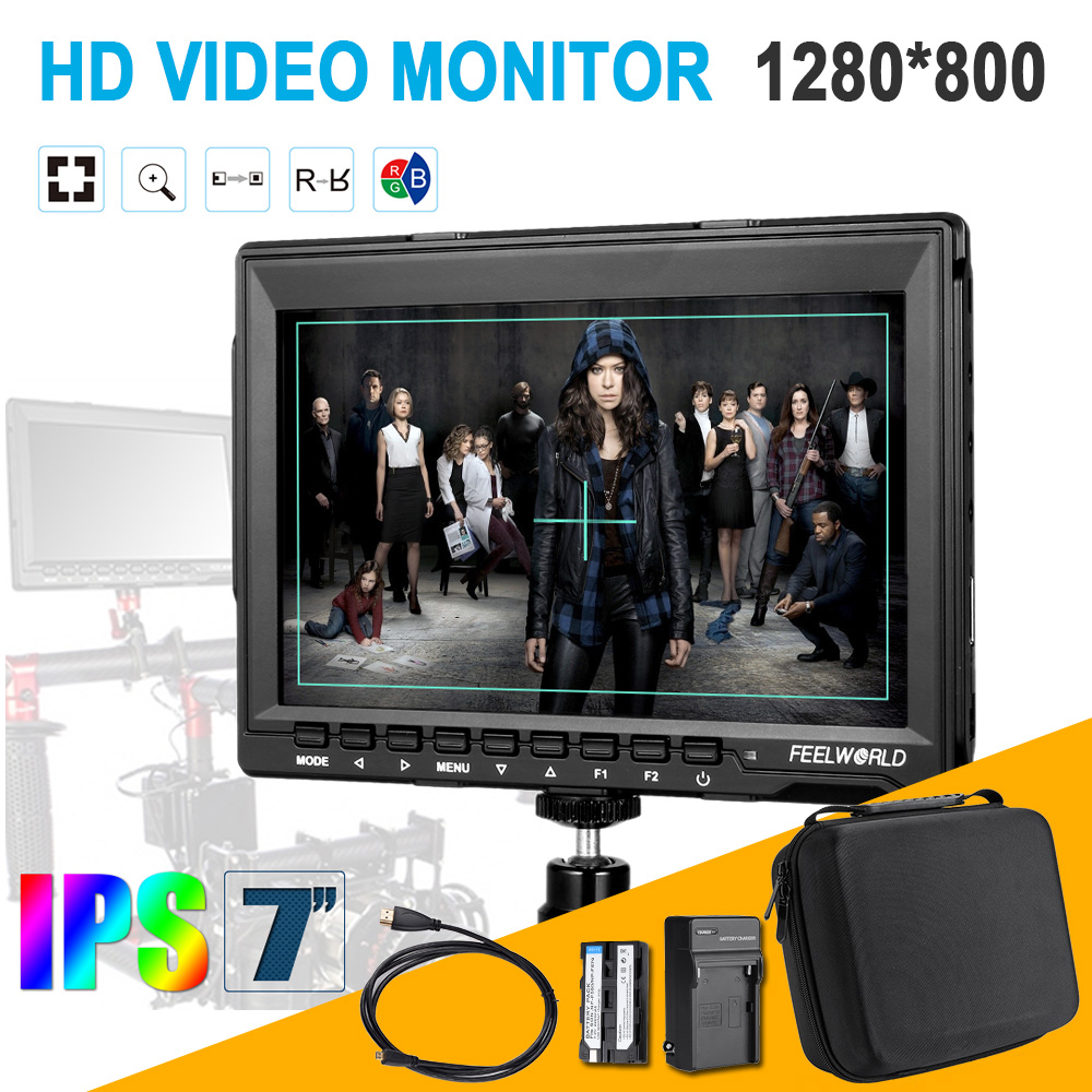 Feelworld FW759 7 HD IPS 1280x800 Field Monitor HDMI Input for BMPCC DLSR Camera Kit + Travel Carrying Case + Battery + Cable