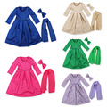 3pcs/set 2016 New Long-sleeved Children's Muslim Girls Dress + Scarf +   Bow Baby Kids Outfits girls sequined dress with bow