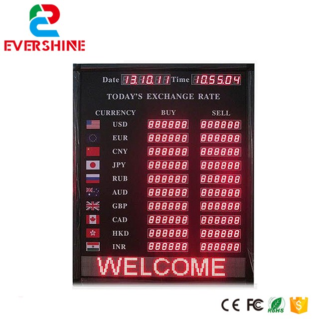 Alibaba Express Led Display Sign Indoor Bank And Hotel Currency Exchange Rate Board