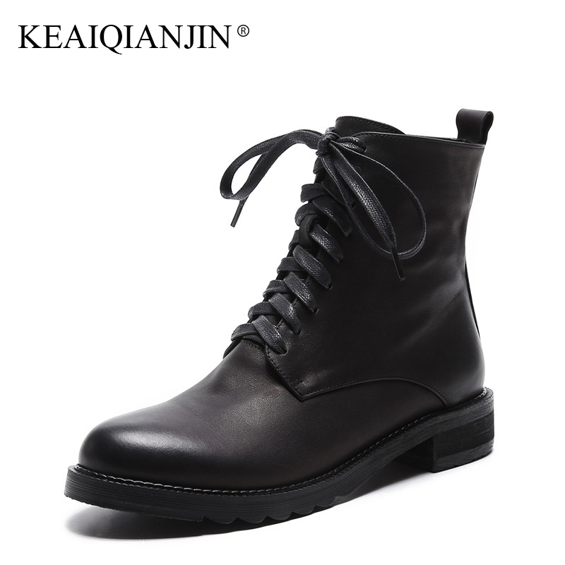 KEAIQIANJIN Woman Genuine Leather Martens Boots Black Lace-Up Autumn Winter Ankle Boots Martins Chaussure Platform Martens Boots термокружка el gusto primavera blue 043 b