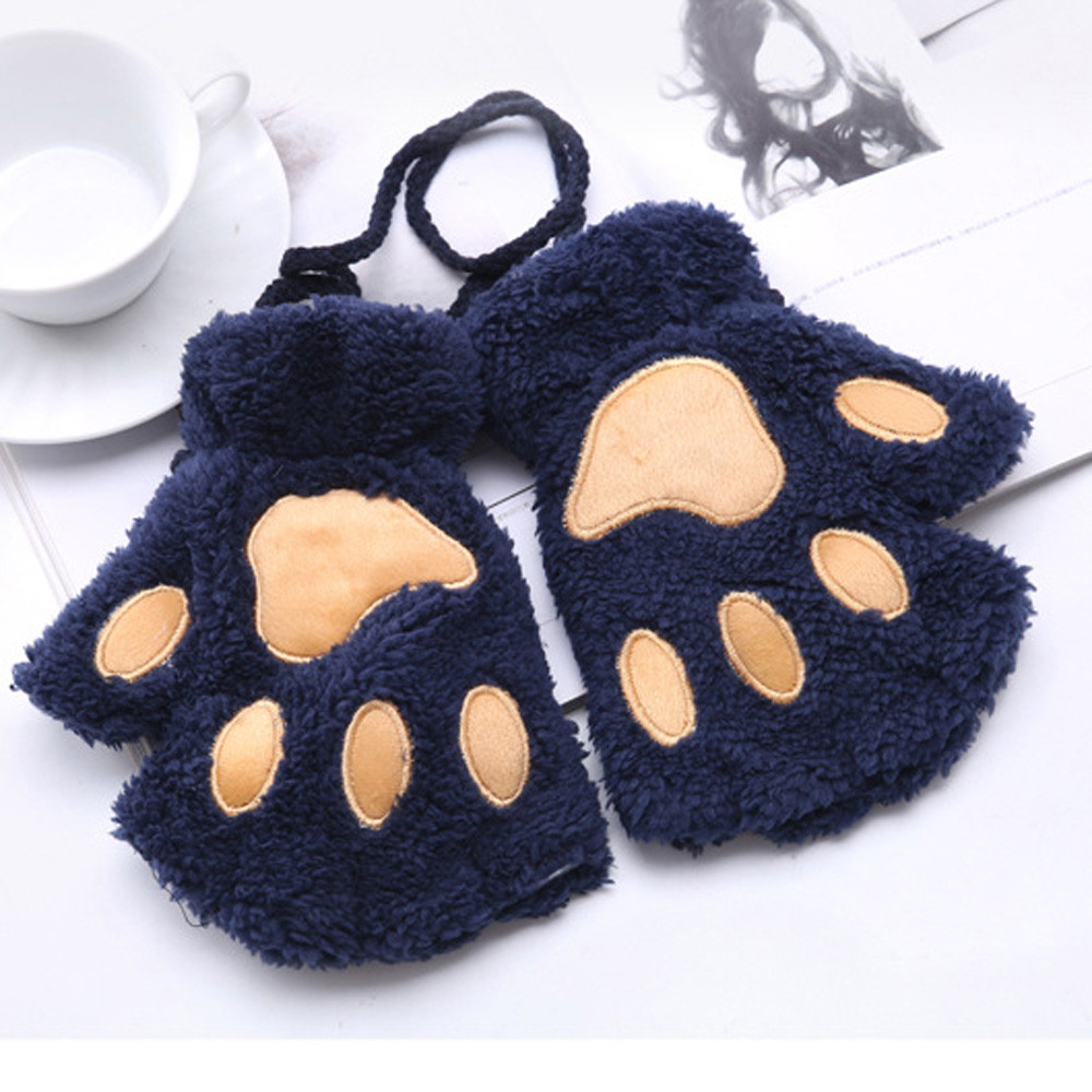Apparel Accessories Hot Lovely Women Cat Claw Paw Mitten Plush Glove Costume Cute Winter Warm Half Finger Gloves Women Female Gloves Mitten Bracing Up The Whole System And Strengthening It